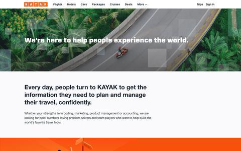 Screenshot of Jobs Page kayak.com - Jobs at KAYAK - captured Oct. 13, 2018