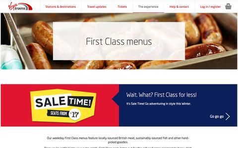 Screenshot of Menu Page virgintrains.co.uk - First Class Menu - Experience - Virgin Trains - captured Nov. 26, 2017
