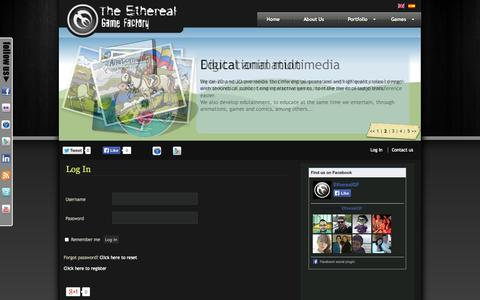 Screenshot of Login Page etherealgf.com - Log In «  The Ethereal Game Factory - captured Sept. 30, 2014