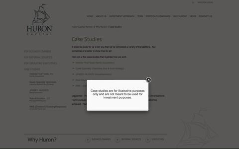 Screenshot of Case Studies Page huroncapital.com - Case Studies | Huron Capital Partners - captured Nov. 15, 2016