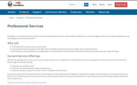 Screenshot of Services Page cloudbees.com - Professional Services | CloudBees - captured July 3, 2016