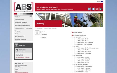 Screenshot of Site Map Page abs-fall-protection.com - ABS Fall Protection - Site map - captured Oct. 4, 2014