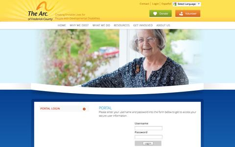 Screenshot of Login Page arcfc.org - The Arc of Frederick County : Portal : Portal Login - captured Oct. 1, 2014