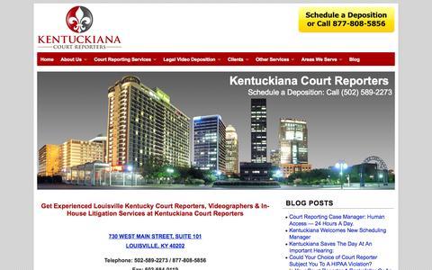 Screenshot of Home Page kentuckianareporters.com - Louisville Kentucky Court Reporters   Reporting   Legal Video Depositions - captured Oct. 6, 2014
