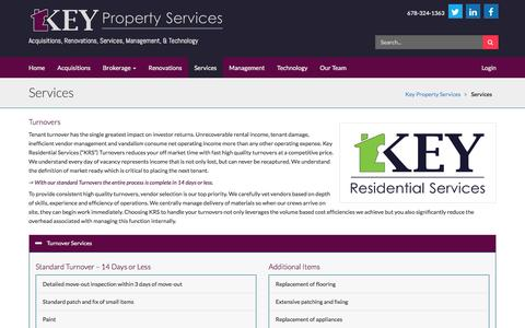 Screenshot of Services Page keyco.com - Key Property Services - captured Feb. 12, 2016