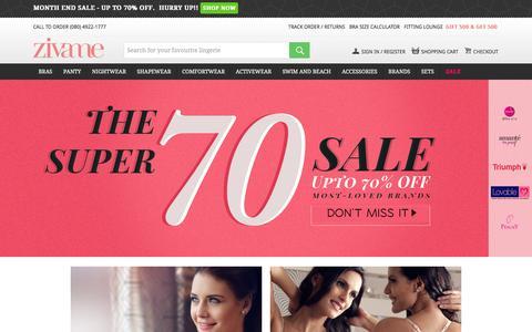 Screenshot of Home Page zivame.com - Buy Lingerie Online in India - Bra, Panties, Nightwear, Women's Apparel & Underwear | Zivame.com - captured Jan. 29, 2016
