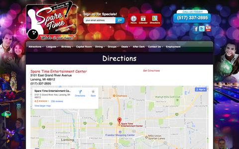 Screenshot of Maps & Directions Page sparetimelansing.com - Directions | Spare Time Entertainment Center - captured Oct. 26, 2017