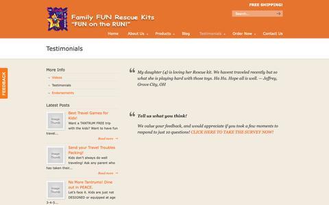 Screenshot of Testimonials Page familyfunkits.com - Testimonials - Family Fun Kits for Traveling & Dining Out with Kids! Family Fun Kits for Traveling & Dining Out with Kids! - captured Oct. 10, 2018