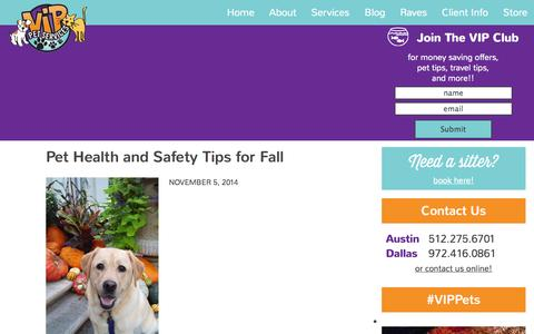 Screenshot of Blog vippets.net - VIP Pets — Pet Sitting and Pet Care in the Dallas and Austin areas - captured Nov. 5, 2014