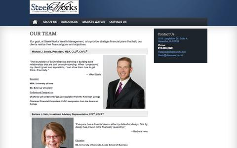 Screenshot of Team Page steeleworks.net - OUR TEAM : Investing, Financial Planning, Business Solutions Hiawatha, IA | SteeleWorks Wealth Management - captured Oct. 7, 2014