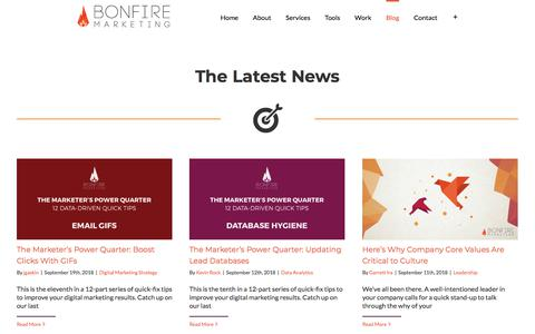 Screenshot of Blog thinkbonfire.com - Blog - Bonfire Marketing - captured Sept. 19, 2018