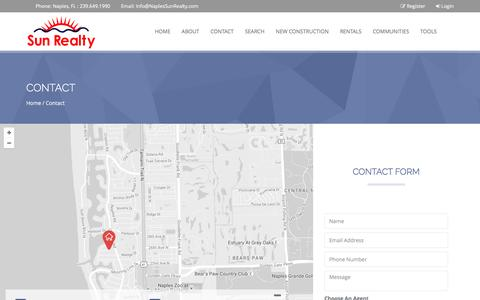 Screenshot of Contact Page naplessunrealty.com - Contact - captured Nov. 18, 2016