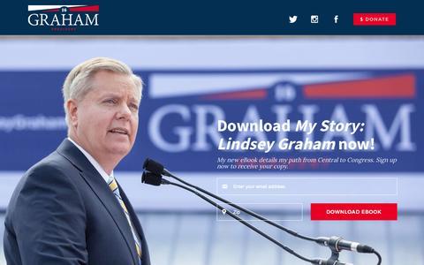 Screenshot of Home Page lindseygraham.com - Lindsey Graham for President 2016 | LindseyGraham.com - captured Aug. 6, 2015