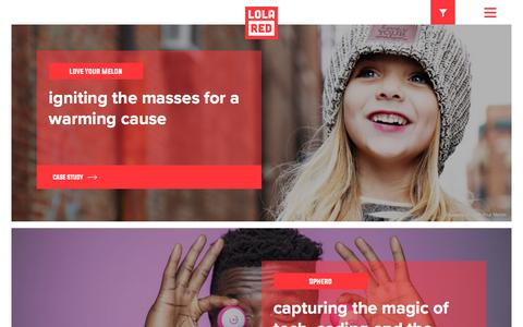 Screenshot of Case Studies Page lolaredpr.com - Work - Case Studies | PR, Social, Influencer Marketing, Content, Digital | Lola Red PR - captured July 22, 2018