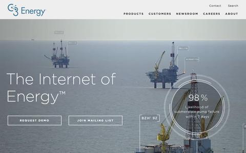 Screenshot of Home Page c3energy.com - Home - C3 Energy - captured Feb. 20, 2016