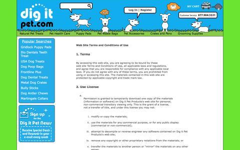 Screenshot of Terms Page digitpet.com captured Aug. 2, 2016
