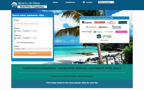 Screenshot of Home Page hotels-allover.com - Cheap Hotels Worldwide - Last Minute Hotel Deals - captured March 5, 2016