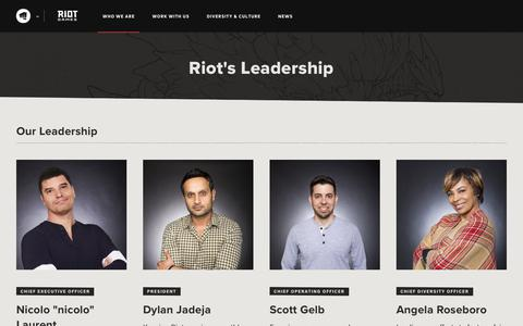 Screenshot of Team Page riotgames.com - Riot Games' Leadership | Riot Games - captured Jan. 31, 2020
