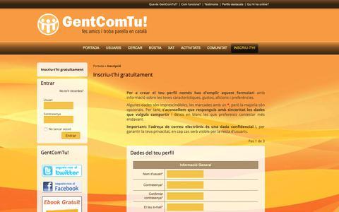 Screenshot of Signup Page gentcomtu.com - GentComTu!: Inscriu-t'hi gratuïtament - captured Nov. 8, 2018