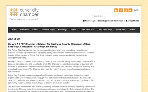 Screenshot of About Page culvercitychamber.com - About Us - Culver City Chamber of Commerce, CA - captured Sept. 30, 2018