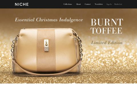Screenshot of Home Page nichebags.com - Niche Bags | Women's Luxury Designer Handbags - captured Oct. 6, 2014