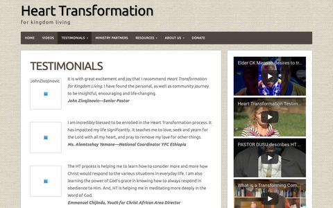 Screenshot of Testimonials Page hearttransformation.org - Testimonials – Heart Transformation - captured Sept. 27, 2018