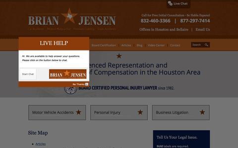 Screenshot of Site Map Page bjensenlaw.com - Site Map   B. L. Jensen, L.P.   Houston, Texas - captured Jan. 27, 2016