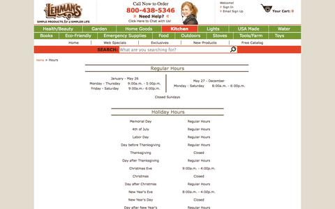 Screenshot of Hours Page lehmans.com - Hours - captured Sept. 23, 2014