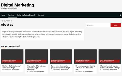 Screenshot of About Page digitalmarketinginterview.com - About us - Digital Marketing - captured May 23, 2019