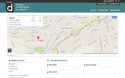 Screenshot of Contact Page Support Page doozy.ch - Contactez Doozy.ch - captured Oct. 23, 2014