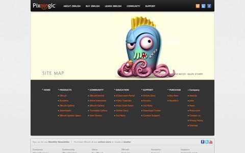 Screenshot of Site Map Page pixologic.com - Pixologic :: Site Map - captured Sept. 22, 2014