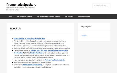 Screenshot of About Page promenadespeakers.com - About Us – Promenade Speakers - captured June 8, 2016