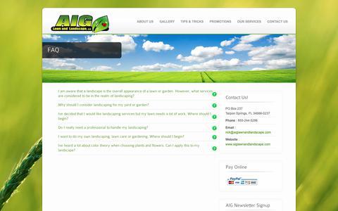 Screenshot of FAQ Page aiglawnandlandscape.com - FAQ - AIG Lawn and Landscaping - captured Oct. 2, 2018