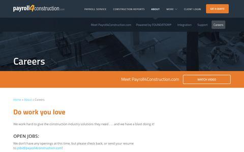 Screenshot of Jobs Page payroll4construction.com - Awesome Careers at Payroll4Construction.com - captured June 15, 2018