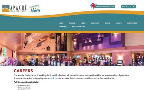 Screenshot of Jobs Page apachecasinohotel.com - CAREERS • Apache Casino Hotel - captured July 30, 2018