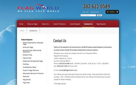 Screenshot of Contact Page flagworldinc.com - Flag World Company Contact Information - captured Oct. 6, 2014