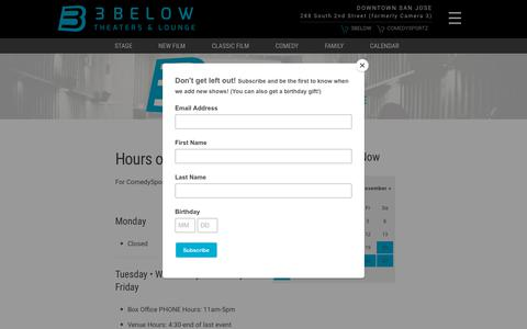 Screenshot of Hours Page 3belowtheaters.com - Hours | 3Below Theaters & Lounge - captured Oct. 20, 2018