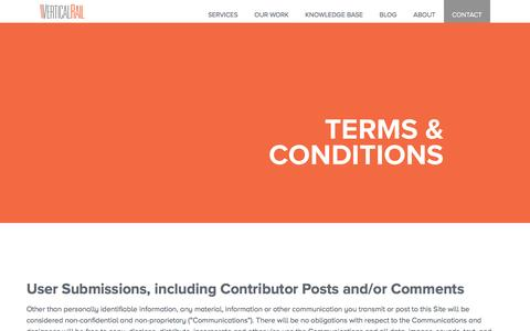 Screenshot of Terms Page verticalrail.com - Vertical Rail | User Submission Terms & Conditions - captured Aug. 12, 2016