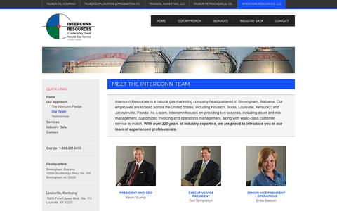 Screenshot of Team Page tauberoil.com - Our Team - Interconn Resources - captured Jan. 30, 2018