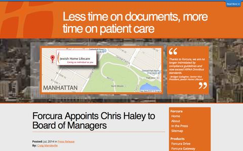 Screenshot of Blog forcura.com - Forcura Blog: Forcura Appoints Chris Haley to Board of Managers - captured Sept. 16, 2014