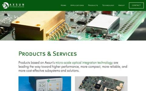 Screenshot of Products Page axsun.com - Products — Axsun Technologies - captured July 3, 2016
