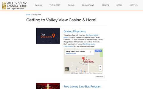 Screenshot of valleyviewcasino.com - Driving Directions and Bus Pass to Valley View Casino - captured Nov. 13, 2017