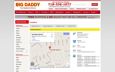 Screenshot of Contact Page Locations Page bigdaddyappliance.com - Contact Big Daddy Appliance in New York - captured Feb. 7, 2016