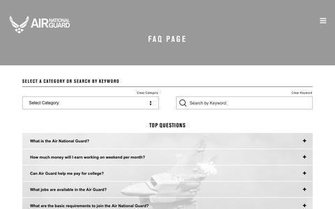 Screenshot of FAQ Page goang.com - FAQ Page | Air National Guard - captured Aug. 16, 2019