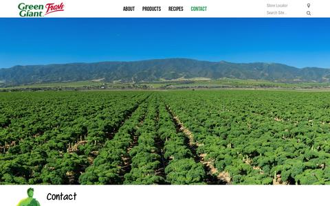 Screenshot of Contact Page greengiantfresh.com - Contact   Green Giant Fresh   Green Giant Fresh - captured July 24, 2018