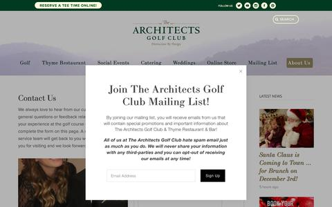 Screenshot of Contact Page thearchitectsclub.com - Contact Us — The Architects Golf Club - captured Oct. 8, 2017