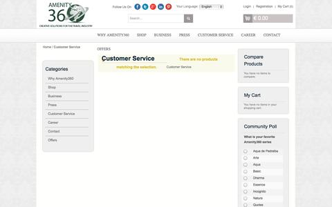 Screenshot of Support Page amenity360.com - Customer Service - captured Sept. 22, 2014