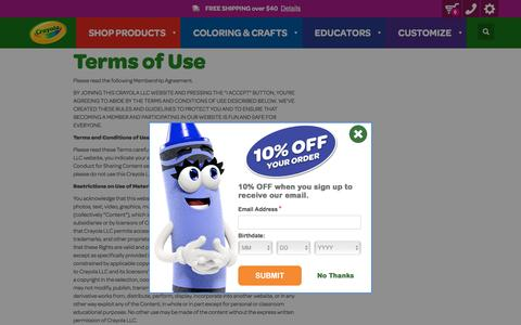 Screenshot of Terms Page crayola.com - Terms of Use | crayola.com - captured Sept. 19, 2018