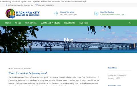 Screenshot of Blog mackinawchamber.com - Blog – Mackinaw City Chamber of Commerce - captured Oct. 1, 2018