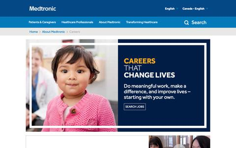 Screenshot of Jobs Page medtronic.com - Careers - captured Oct. 25, 2018